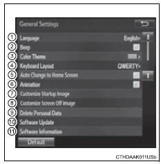 Toyota RAV4. Screen for general settings