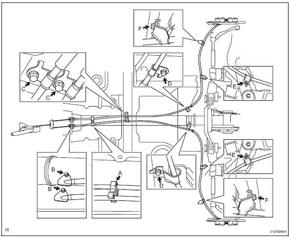 Toyota RAV4. Remove parking brake cable