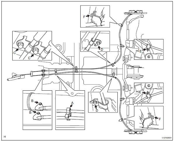 Toyota RAV4. Install parking brake cable